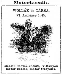 A Wollák és Társa cég reklámja az 1898-as Budapesti Lakcímjegyzékben (Forrás: Hungaricana)